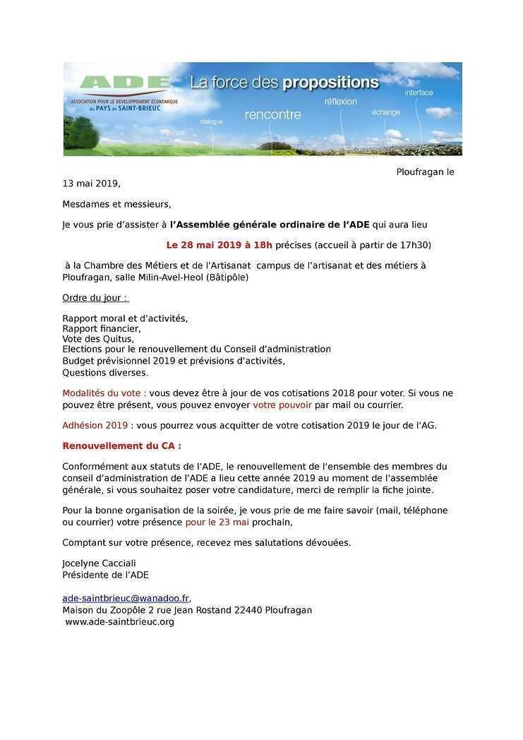 Invitation à l'Assemblée Générale ordinaire de l'ADE<br>